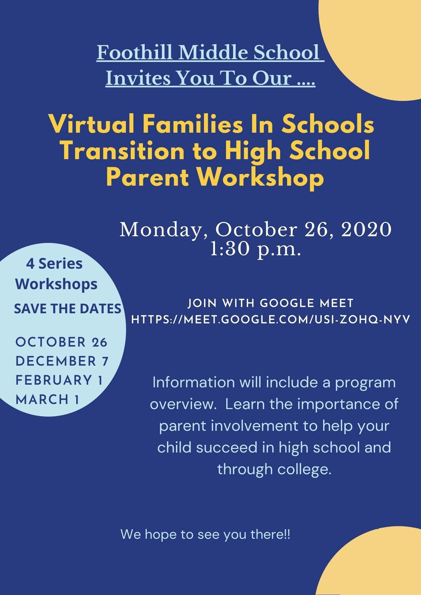 FMS's Virtual Families in Schools Workshop